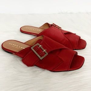 Derek Lam   Noa Satin Slide Sandals Red 39.5